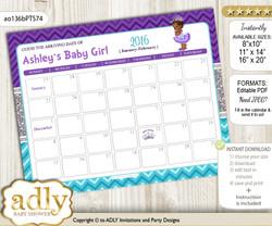 DIY African Princess Baby Due Date Calendar, guess baby arrival date game  n