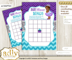 Printable Purple Teal Princess Bingo Game Printable Card for Baby African Shower DIY grey, Purple Teal, Silver