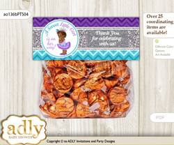 Printable African Princess Treat or Goodie bag Toppers for Baby African Shower or Birthday DIY Purple Teal, Silver