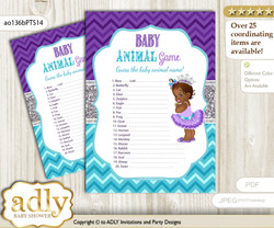 Printable African Princess Baby Animal Game, Guess Names of Baby Animals Printable for Baby Princess Shower, Purple Teal, Silver