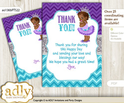 African  Princess Thank you Cards for a Baby African Shower or Birthday DIY Purple Teal, Silver