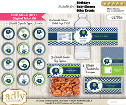 DIY Text Editable Boy Elephant Baby Shower, Birthday digital package, kit-cupcake, goodie bag toppers, water labels, chocolate bar wrappers n