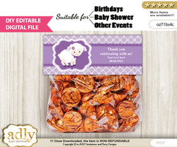 DIY Text Editable Girl Lamb Goodie  Treat Bag Toppers, Favor Bag Digital File, print at home  nv