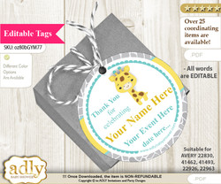 Baby Giraffe Thank You Tags, Circle Favor Tags Personalizable for Shower, Birthday