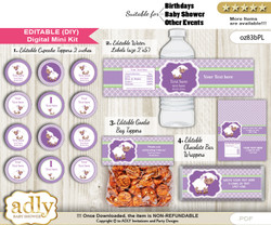 DIY Text Editable Girl Lambie Baby Shower, Birthday digital package, kit-cupcake, goodie bag toppers, water labels, chocolate bar wrappers