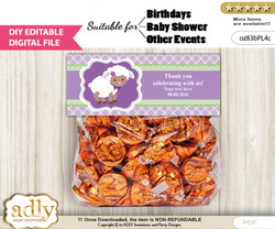 DIY Text Editable Girl Lambie Goodie  Treat Bag Toppers, Favor Bag Digital File, print at home