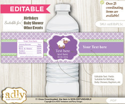 DIY Text Editable Girl Lambie Water Bottle Label, Personalizable Wrapper Digital File, print at home for any event
