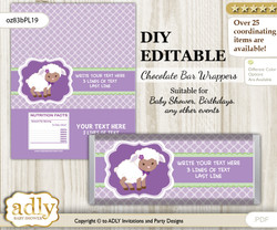 DIY Personalizable Girl Lambie Chocolate Bar Candy Wrapper Label for Girl  baby shower, birthday Lime Green , editable wrappers