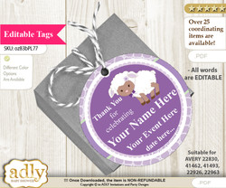 Girl Lambie Thank You Tags, Circle Favor Tags Personalizable for Shower, Birthday