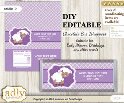 DIY Personalizable Purple Lamb Chocolate Bar Candy Wrapper Label for Purple  baby shower, birthday Sheep , editable wrappers