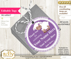 Purple Lamb Thank You Tags, Circle Favor Tags Personalizable for Shower, Birthday