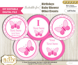 DIY Text Editable Pink Butterfly Cupcake Toppers Digital File, print at home, suitable for birthday, baby shower, baptism