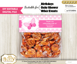 DIY Text Editable Pink Butterfly Goodie  Treat Bag Toppers, Favor Bag Digital File, print at home