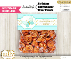 DIY Text Editable Neutral Butterfly Goodie  Treat Bag Toppers, Favor Bag Digital File, print at home