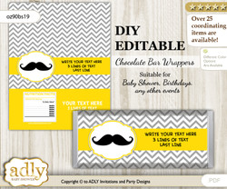 DIY Personalizable Yellow Mustache Chocolate Bar Candy Wrapper Label for Yellow  baby shower, birthday Grey , editable wrappers