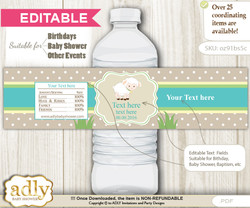 DIY Text Editable Neutral Lamb Water Bottle Label, Personalizable Wrapper Digital File, print at home for any event
