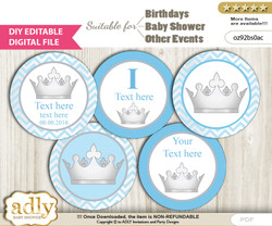 DIY Text Editable Silver Prince Cupcake Toppers Digital File, print at home, suitable for birthday, baby shower, baptism