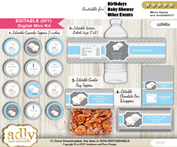 DIY Text Editable Boy Lamb Baby Shower, Birthday digital package, kit-cupcake, goodie bag toppers, water labels, chocolate bar wrappers
