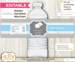 DIY Text Editable Boy Lamb Water Bottle Label, Personalizable Wrapper Digital File, print at home for any event