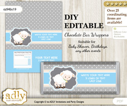 DIY Personalizable Boy Lamb Chocolate Bar Candy Wrapper Label for Boy  baby shower, birthday Blue Grey , editable wrappers
