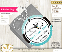 Boy Lamb Thank You Tags, Circle Favor Tags Personalizable for Shower, Birthday n