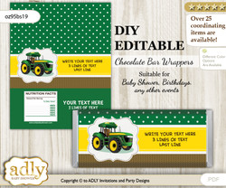 DIY Personalizable Boy Tractor Chocolate Bar Candy Wrapper Label for Boy  baby shower, birthday green Yellow , editable wrappers
