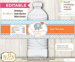 DIY Text Editable Boy Elephant Water Bottle Label, Personalizable Wrapper Digital File, print at home for any event  nn