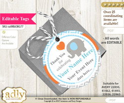 Boy Elephant Thank You Tags, Circle Favor Tags Personalizable for Shower, Birthday nn