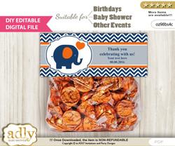 DIY Text Editable Boy Elephant Goodie  Treat Bag Toppers, Favor Bag Digital File, print at home  m