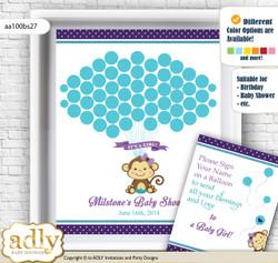 Girl Monkey Guest Book Alternative for a Baby Shower, Creative Nursery Wall Art Gift, Purple Teal, Polka
