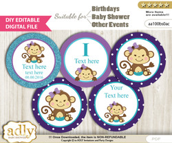 DIY Text Editable Girl Monkey Cupcake Toppers Digital File, print at home, suitable for birthday, baby shower, baptism n
