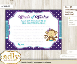 Purple Teal Girl Monkey Words of Wisdom or an Advice Printable Card for Baby Shower, Polka
