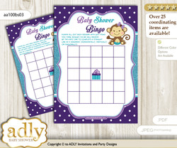 Printable Purple Teal Monkey Bingo Game Printable Card for Baby Girl Shower DIY grey, Purple Teal, Polka