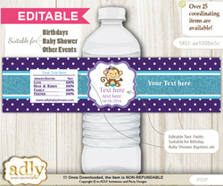 DIY Text Editable Girl Monkey Water Bottle Label, Personalizable Wrapper Digital File, print at home for any event   n