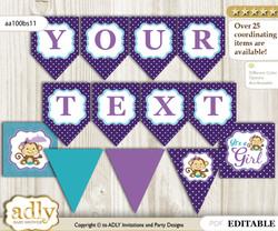 DIY Personalizable Girl Monkey Printable Banner for Baby Shower, Purple Teal, Polka