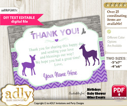 Girl Deer Thank you Printable Card with Name Personalization for Baby Shower or Birthday Party nm