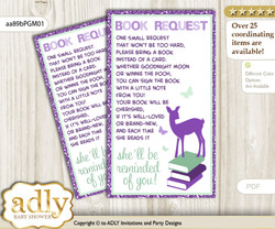 Request a Book Instead of a Card for Girl Deer Baby Shower or Birthday, Printable Book DIY Tickets, Forest, Purple Mint m