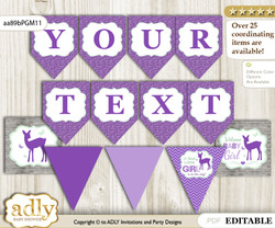 DIY Personalizable Girl Deer Printable Banner for Baby Shower, Purple Mint, Forest