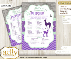 Girl Deer What is in Mommy's Purse, Baby Shower Purse Game Printable Card , Purple Mint,  Forest