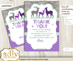 Girl  Deer Thank you Cards for a Baby Girl Shower or Birthday DIY Purple Mint, Forest