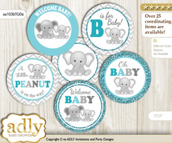 Baby Shower Peanut Unisex Cupcake Toppers Printable File for Little Peanut and Mommy-to-be, favor tags, circle toppers, Chevron, Teal Gray