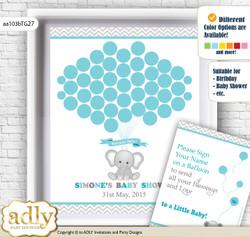 Peanut Unisex Guest Book Alternative for a Baby Shower, Creative Nursery Wall Art Gift, Teal Gray, Chevron