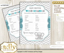 Peanut Unisex Word Scramble Game for Baby Shower