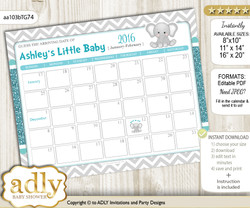 DIY Peanut Unisex Baby Due Date Calendar, guess baby arrival date game