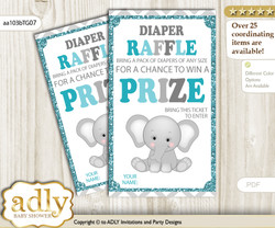 Peanut Unisex Diaper Raffle Printable Tickets for Baby Shower, Teal Gray, Chevron