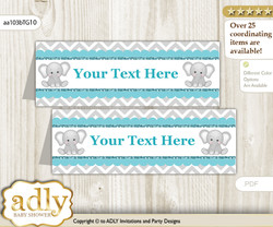 DIY Text Editable Printable Peanut Unisex Buffet Tags or Food Tent Labels  for a Baby Shower or Birthday , Teal Gray, Chevron