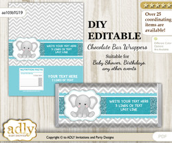 DIY Personalizable Peanut Unisex Chocolate Bar Candy Wrapper Label for Peanut  baby shower, birthday Teal Gray , editable wrappers