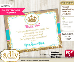 DIY Editable Princess  Royal Thank you Printable card, only text editable thank you for Baby Shower or Birthday Party