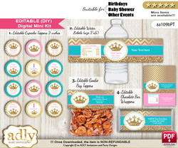 DIY Text Editable Princess  Royal Baby Shower, Birthday digital package, kit-cupcake, goodie bag toppers, water labels, chocolate bar wrappers