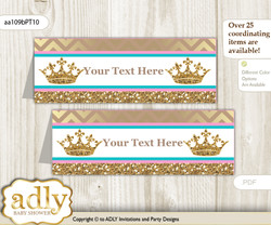 DIY Text Editable Printable Princess  Royal Buffet Tags or Food Tent Labels  for a Baby Shower or Birthday , Pink Turquoise, Crown